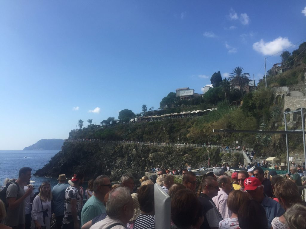 Crowds on our trip to Manarola, Italy