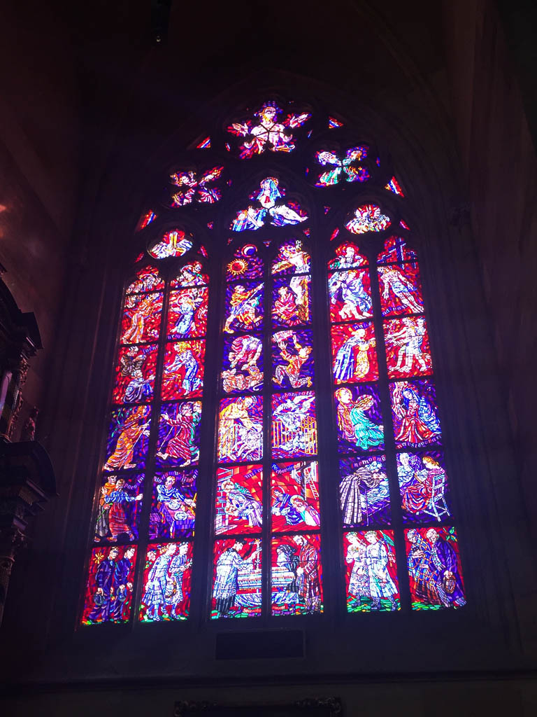 Stained glass window inside St Vitus Cathedral