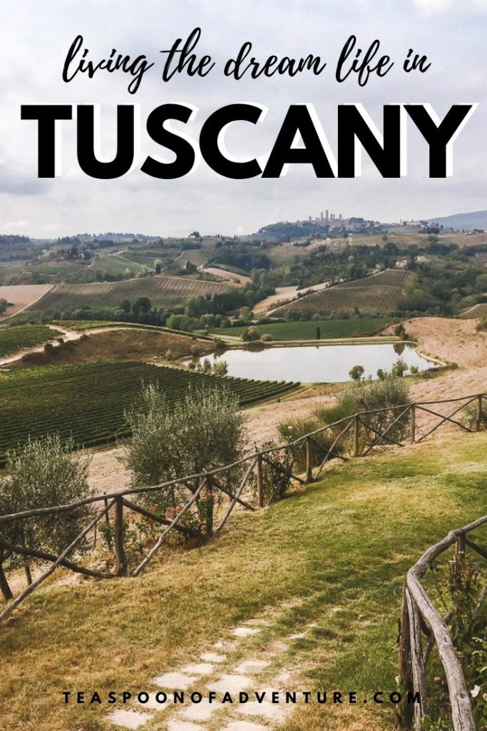 Living our perfect Tuscan villa dream life in the most beautiful villa in Poggiarello, Italy with easy day trips, great food and the most beautiful views! #travel #traveltips #tuscany #tuscanvilla #italy