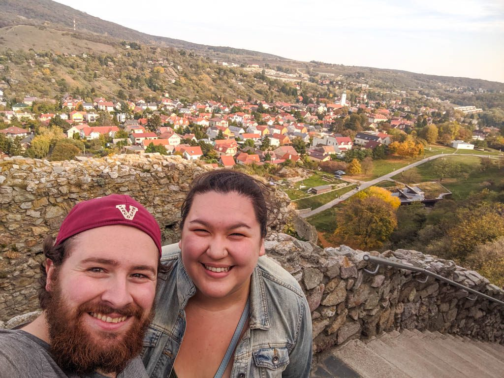 Selfie at Devin Castle on our one day in Bratislava