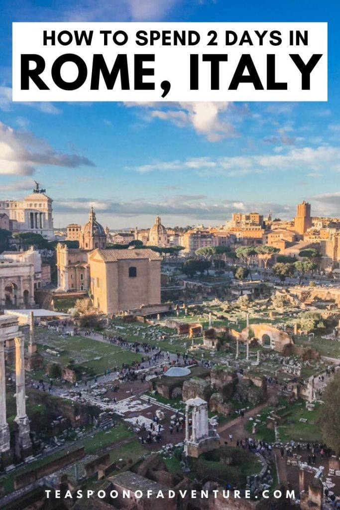 Check out my itinerary for two days in Rome, Italy! With only 2 days in Rome, you have just enough time to tour the Colosseum, toss a coin in the Trevi Fountain, and grab a scoop (or two) of gelato! #italy #rome #europe #travel #traveltips #romeitinerary #italyitinerary #colosseum