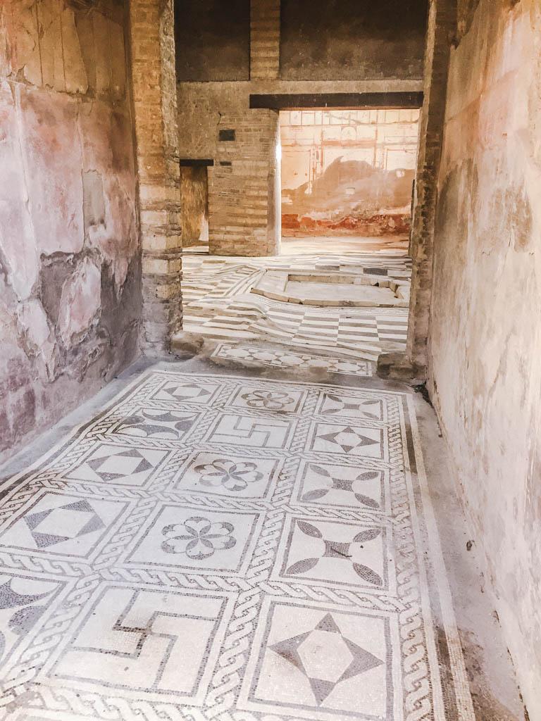 Detailed tile work at Herculaneum