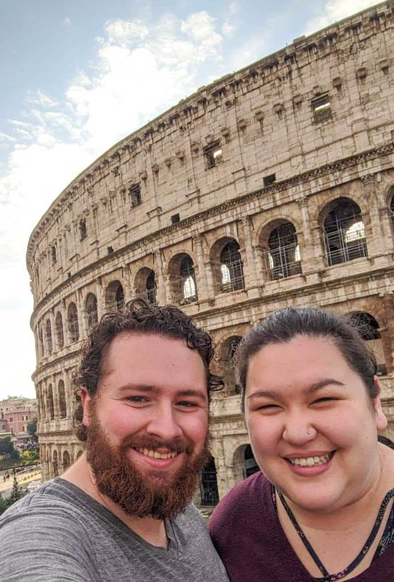 Selfie in front of the Colosseum in Rome, Italy