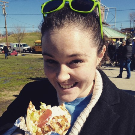 Me enjoying some delicious food truck food from a recent Durham Food Truck Rodeo