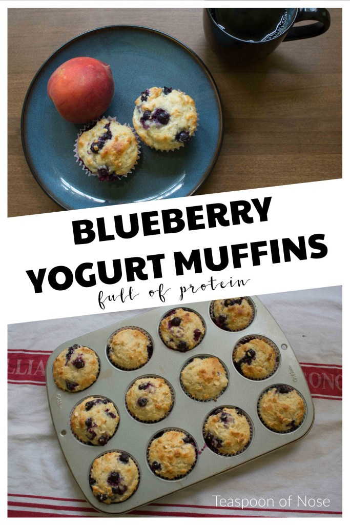 Craving muffins but trying not to go overboard? Try these protein-packed blueberry yogurt muffins!  | Teaspoon of Nose