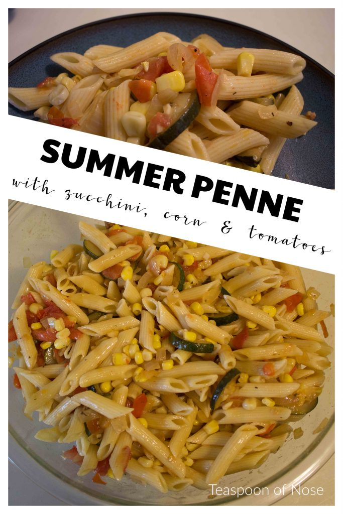 This summer penne makes a great side dish for a cookout (no mayo!) or a vegetarian main dish!