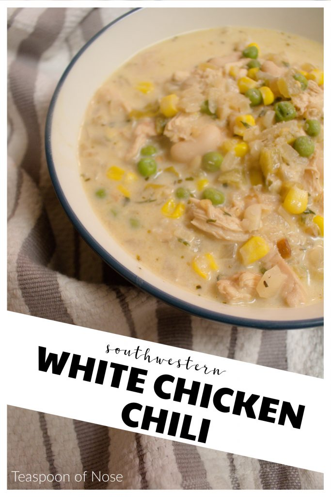 This southwestern take on white chicken chili is hearty and warms you up from the inside out! | Teaspoon of Nose