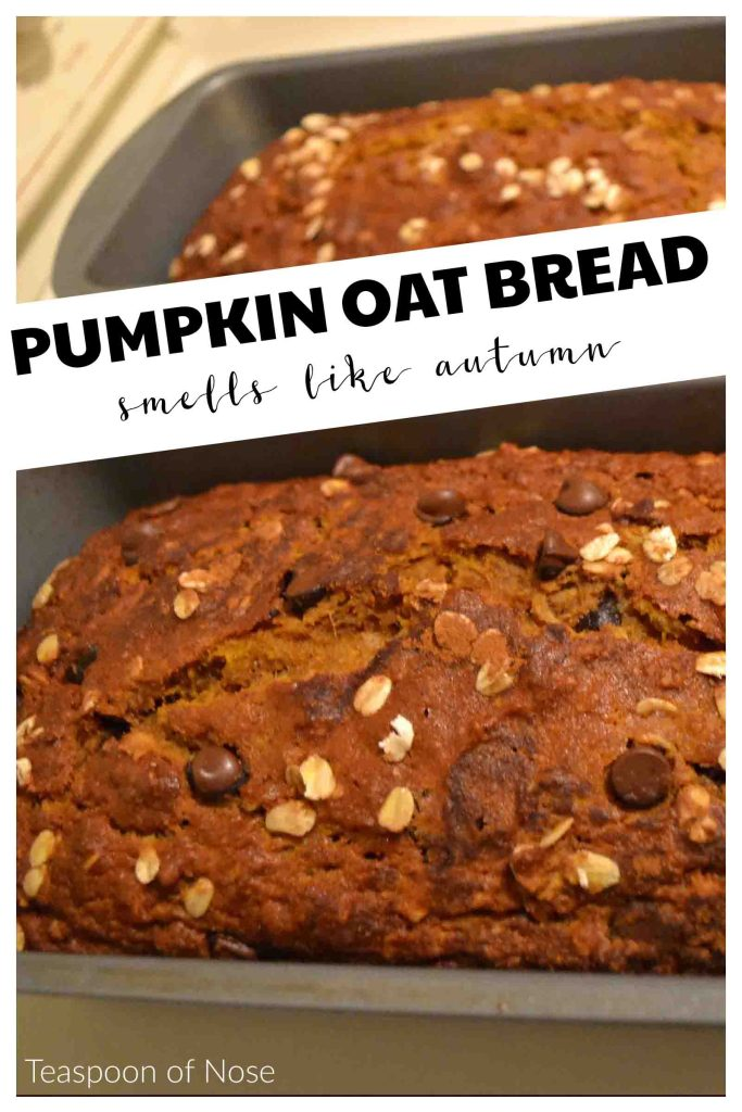 This pumpkin oatmeal bread (lightened up with oatmeal and whole wheat flour) is delicious and easy to make! | Teaspoon of Nose