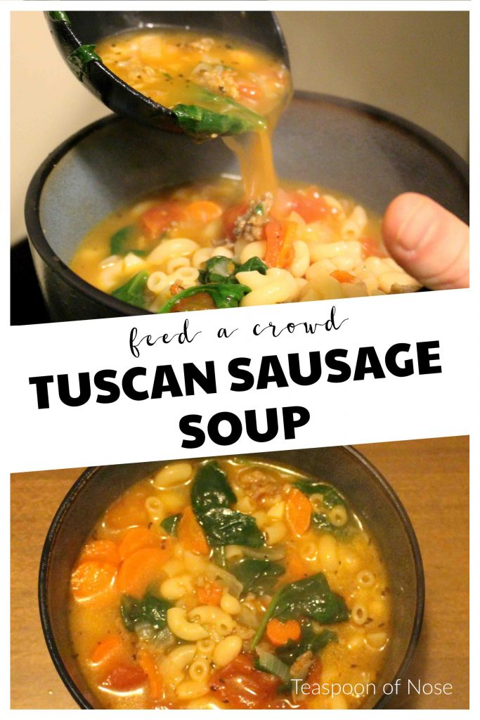 Tuscan Sausage Soup is hearty, delicious, and will feed an army!! | Teaspoon of Nose a
