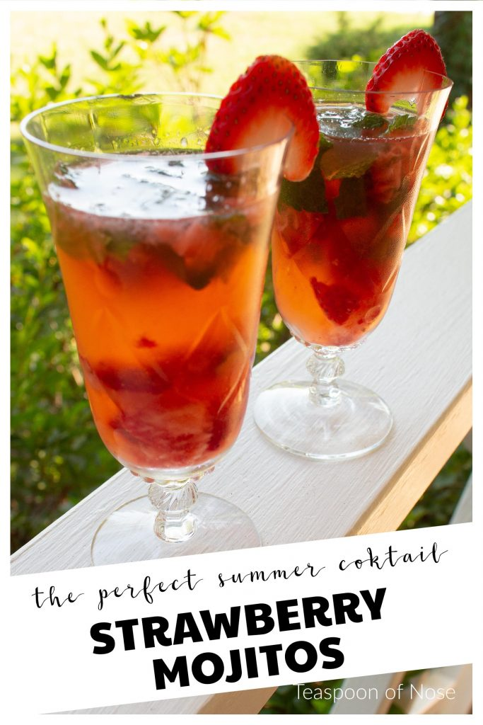 Strawberry mojitos make the perfect cocktail for the fourth of July!!! | Teaspoon of Nose