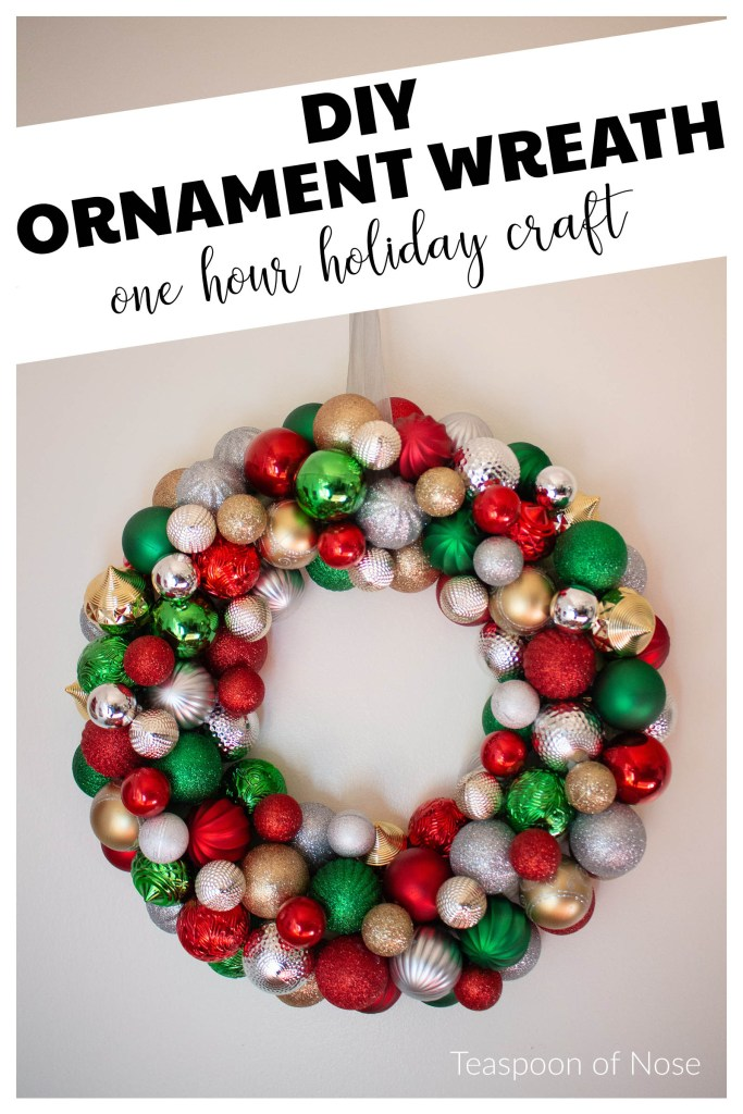 This DIY ornament wreath is a fantastic little DIY that you can put together in an hour for an elegant bit of Christmas decor! | Teaspoon of Nose