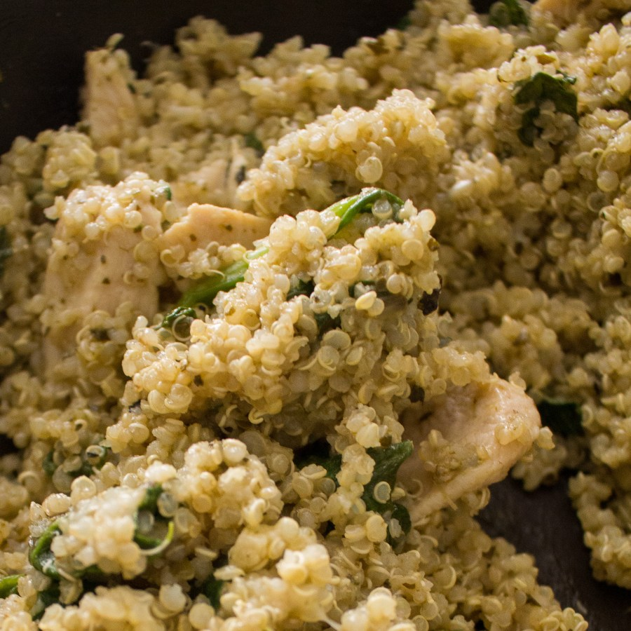 Pesto Quinoa Chicken makes a great weeknight hosting meal. It's simple to pull together and healthy comfort food, so perfect for guests of all ages!