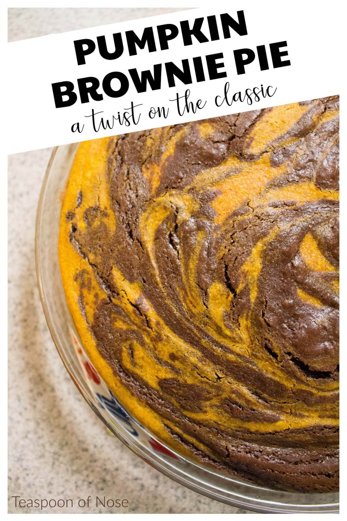 Pumpkin Brownie Pie is a mash-up of two classic American desserts: pumpkin pie and brownies!