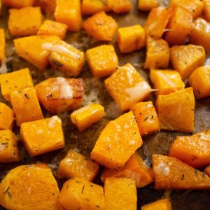 Parmesan Roasted Butternut Squash is tasty enough for Thanksgiving but easy enough for a weeknight