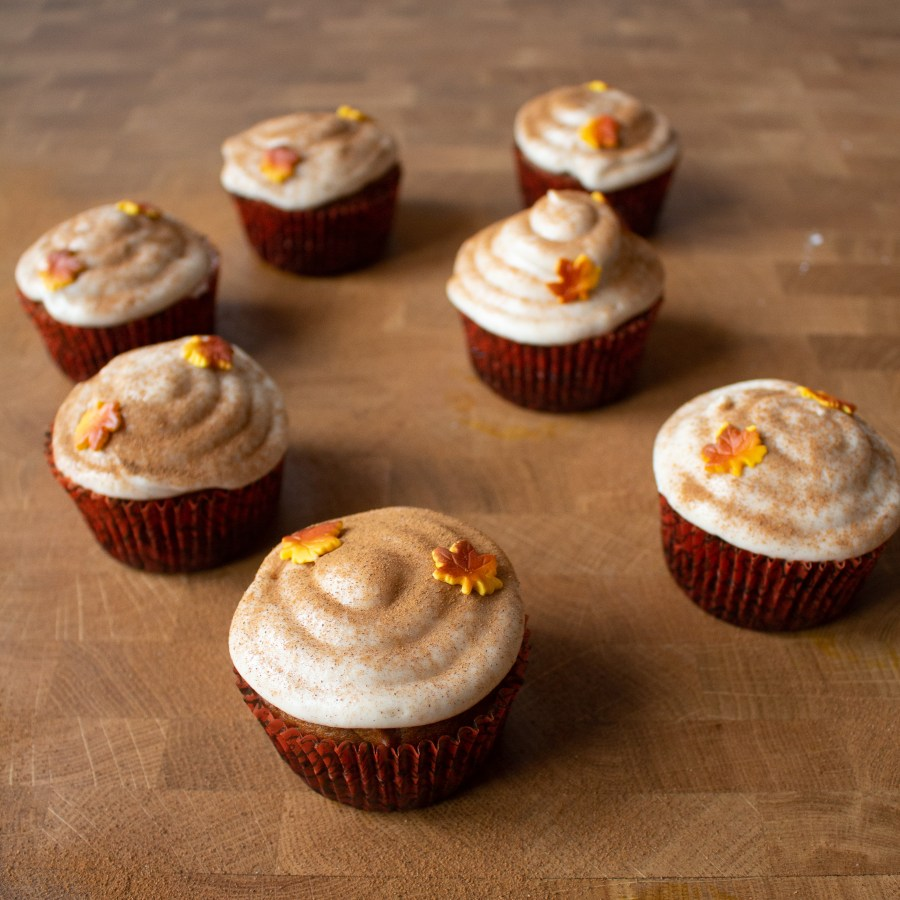 Pumpkin cupcakes are moist, packed with pumpkin flavor, and topped with a spiced cream cheese frosting!