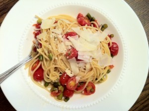 Linguine with garlic scapes, tomatoes and cheese
