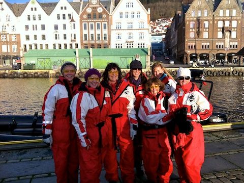 Prepping for speed boat ride around Bergen