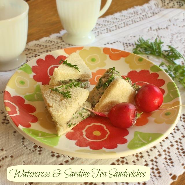 Watercress sardine tea sandwiches | Teaspoonofspice.com