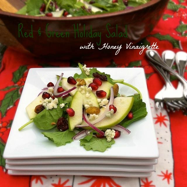 Red & Green Holiday Salad with Honey Vinaigrette | TeaspoonofSpice.com