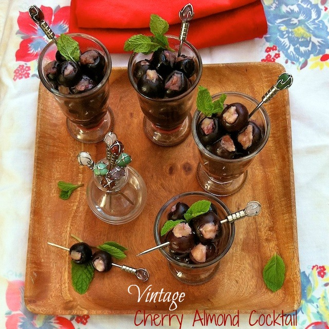 Vintage Cherry Almond Cocktail | Teaspoonofspice.com