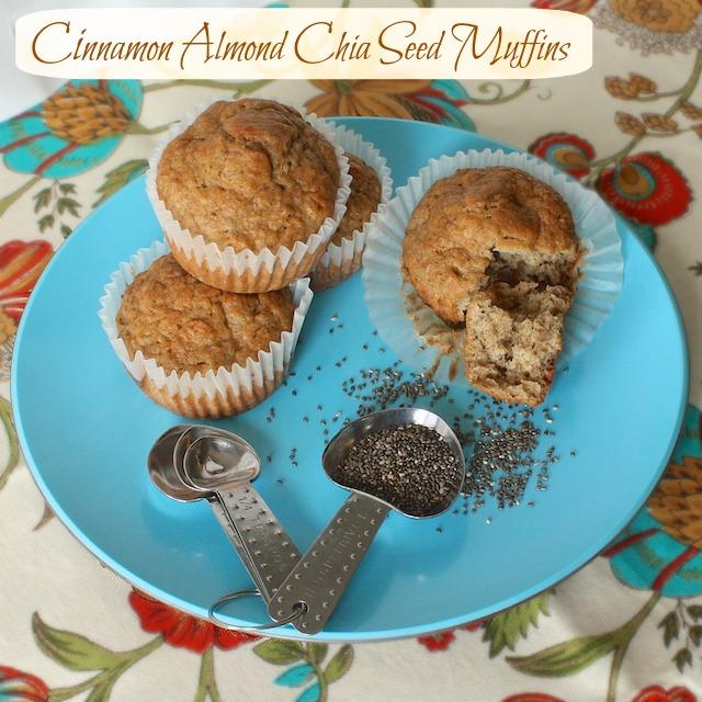Cinnamon Almond Chia Seed Muffins - Teaspoonofspice.com
