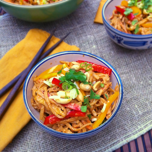 Spicy Peanut Noodle Salad | Teaspoonofspice.com