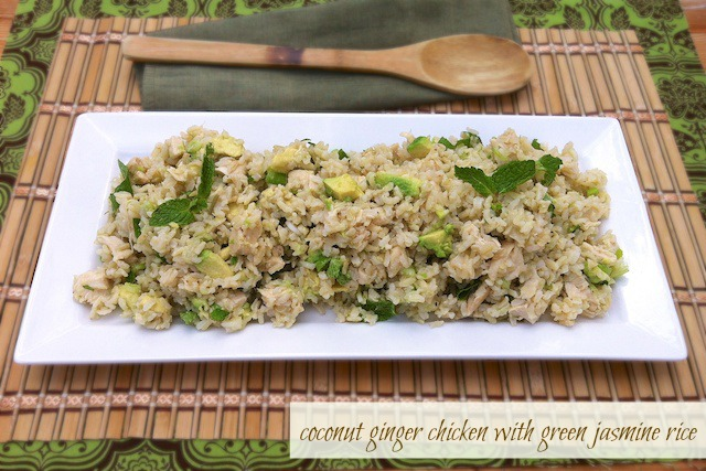 Coconut Ginger Chicken with Green Jasmine Rice   teaspooncomm.com/teaspoonofspice/