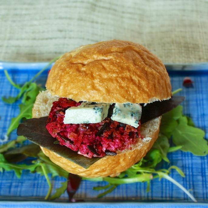 Bacon, Blue Cheese & Beet Veggie Burger | Teaspoonofspice.com