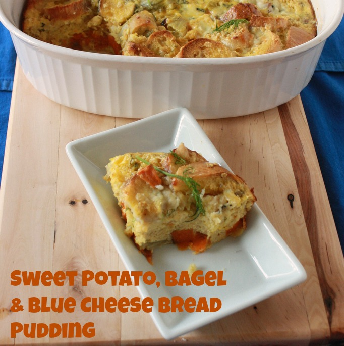 Sweet Potato Bagel Blue Cheese Bread Pudding2