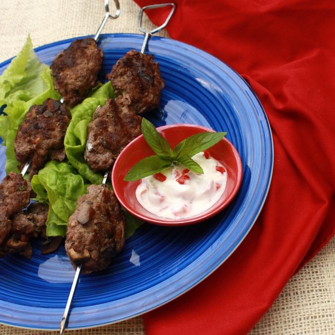 Grilled Mushroom & Beef Kofta   TeaspoonOfSpice.com