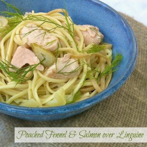 Poached Fennel Salmon Linguine- Teaspoonofspice.com