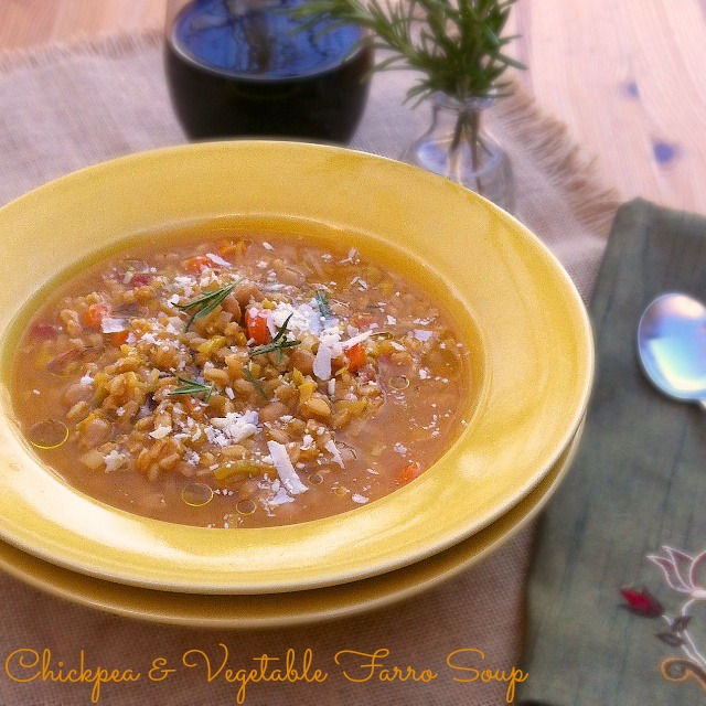 Chickpea & Vegetable Farro Soup + Tuscan Fields giveaway