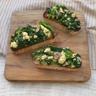 Broccoli Rabe, Bacon and Eggs Bruschetta