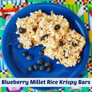 Blueberry Millet Rice Krispy Bars | Teaspoonofspice.com
