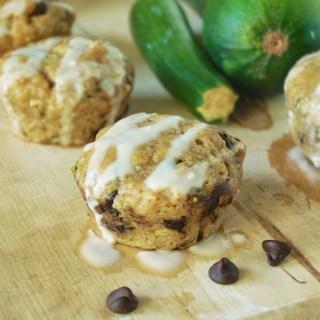 Chocolate Zucchini Muffins with Vanilla Glaze