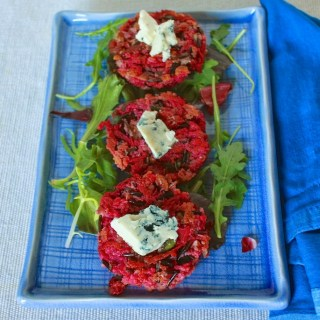 Bacon, Blue Cheese and Beet Veggie Burgers