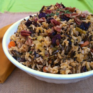 Wild Rice Stuffing with Dried Cherries and Pecans