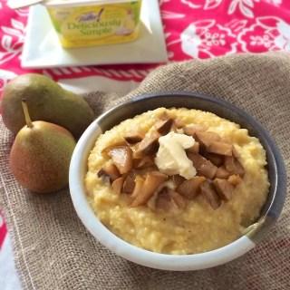 Breakfast Polenta with Cinnamon Pears | Teaspoonofspice.com
