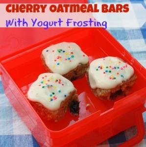 Cherry Oatmeal Bars Yogurt Frosting | TeaspoonOfSpice.com