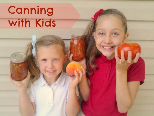 Canning with Kids + Peach Salsa | TeaspoonOfSpice.com