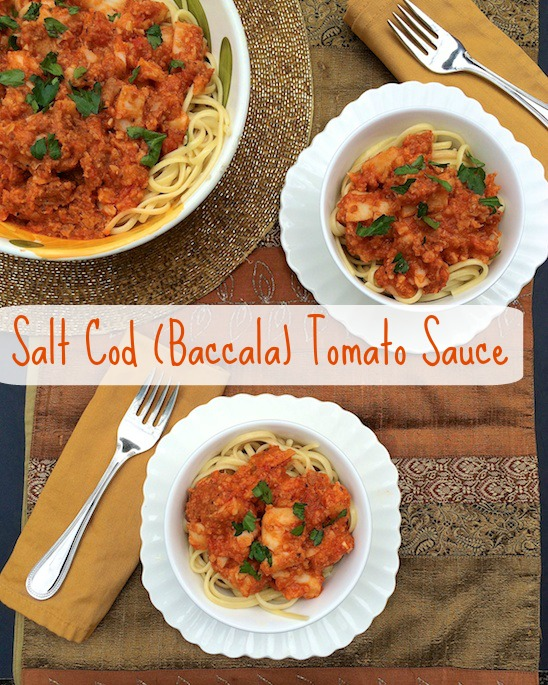 Baccala (Salt Cod) Tomato Sauce served over your favorite pasta - a Christmas Eve tradition via @teaspoonofspice.com