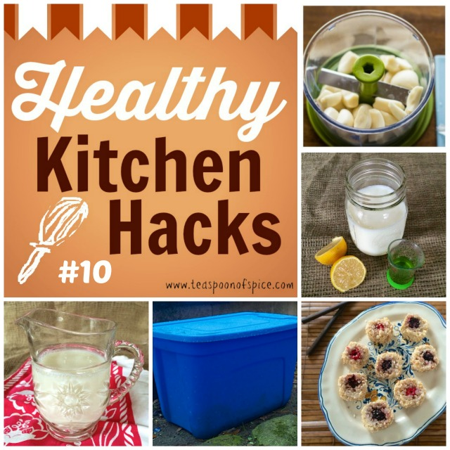 HealthyKitchenHacks: Quick Way to Chop Garlic, DIY Compost Bin, Quick Homemade Buttermilk, Ways to Use Leftover Buttermilk, April Fool's Sushi (Fruit & Coconut Sushi) |Teaspoonofspice.com @tspbasil