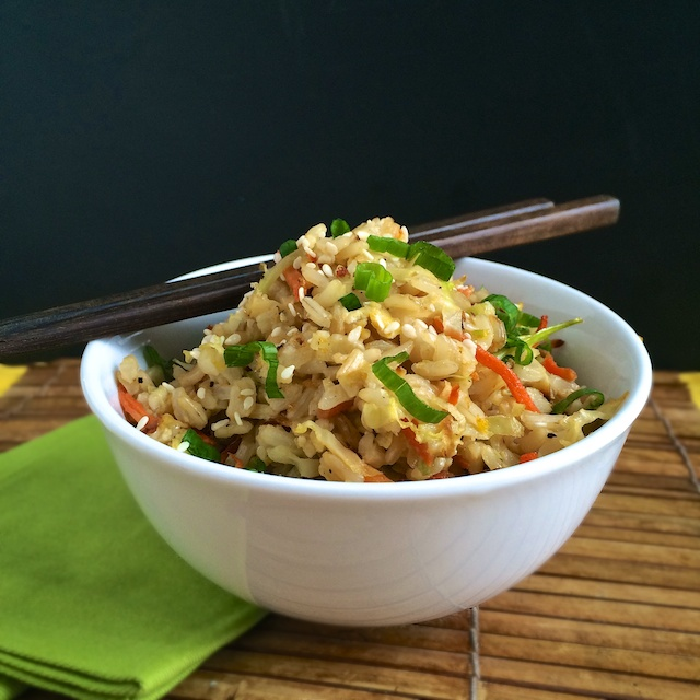 Roasted Cabbage & Carrot Fried Rice | Teaspoonofspice.com @tspbasil