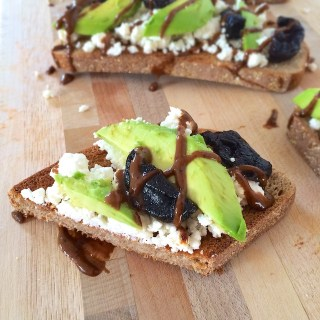 Upgrade your avocado toast with ricotta cheese, black pepper and a dried plum vinaigrette drizzle. teaspoonofspice.com @tspbasil