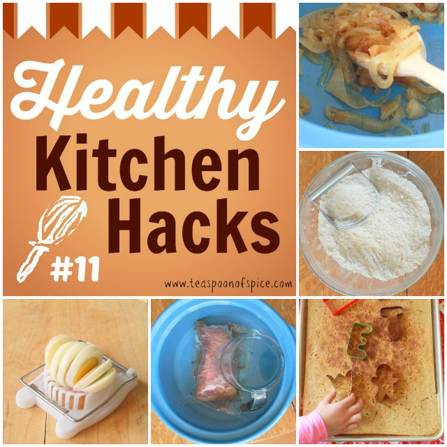 #HealthyKitchenHacks: Easy Way to Caramelize Onions, Thaw Frozen Meat in 20 Minutes,  Alternate Uses for Egg Slicer, Homemade Whole Wheat Bisquick Mix, No Flip Oven Pancakes  via teaspsoonofspice.com