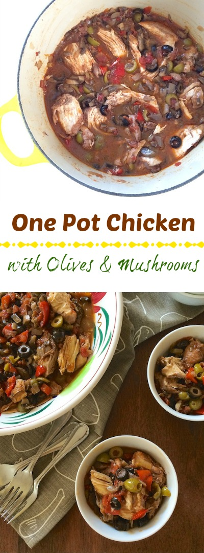 A version of Chicken Espagnole, this flavorful stovetop chicken dinner features olives, tomatoes mushrooms and smoked paprika. teaspoonofspice.com @tspbasil