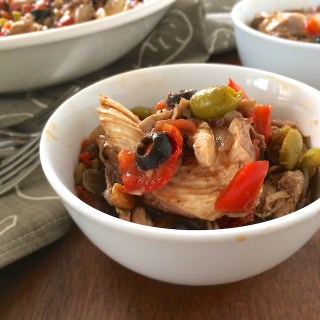 One Pot Chicken with Olives and Mushrooms