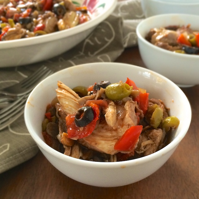 One Pot Chicken with Olives and Mushrooms via @tspbasil teaspoonofspice.com #chicken #dinner