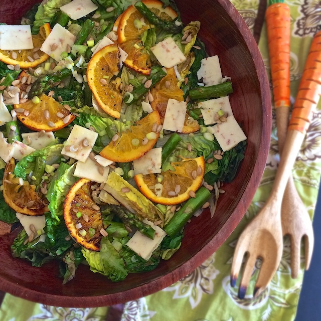 Transition to spring with this salad featuring roasted oranges and asparagus. Teaspoonofspice.com @tspbasil