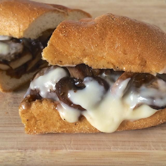 Grilled Mushroom Cheesesteaks   Teaspoonofspice.com